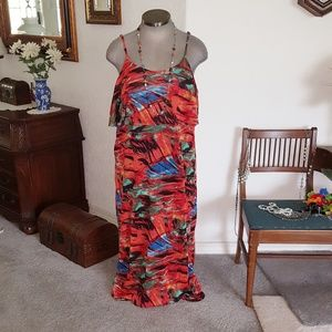 MULTI~COLORED * TIE~BACK MAXI~DRESS BBW Sz.3x NWT